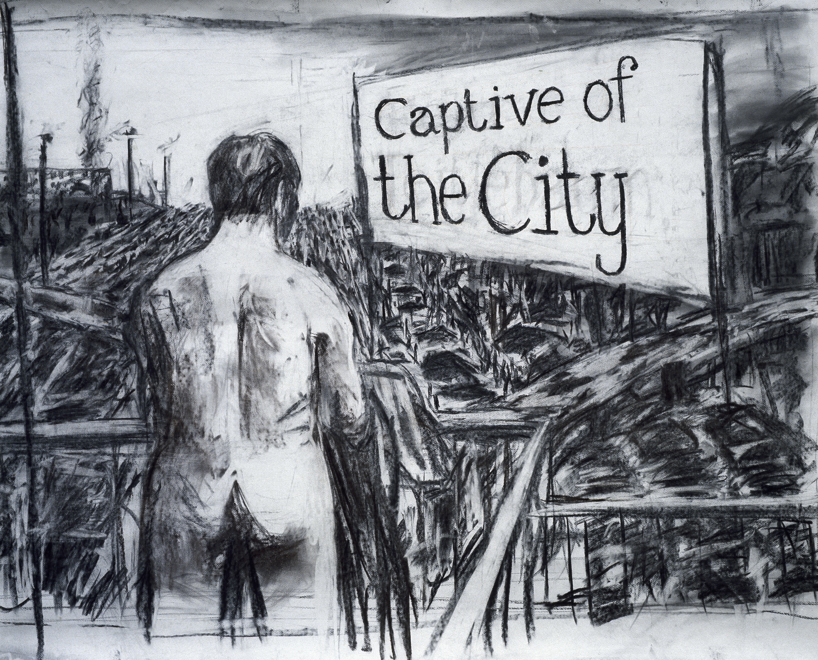 Drawing for the film Johannesburg, 2nd Greatest City after Paris (Captive of the City)